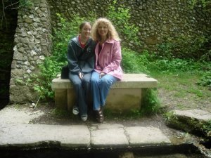 Mum and me in an old monks' garden in Dorset
